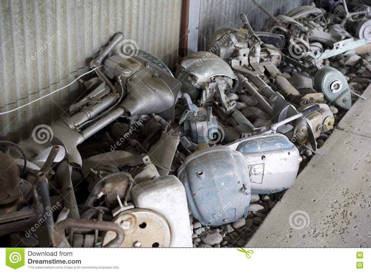 Old outboard motors in a pile editorial stock photo for Best outboard motor warranty