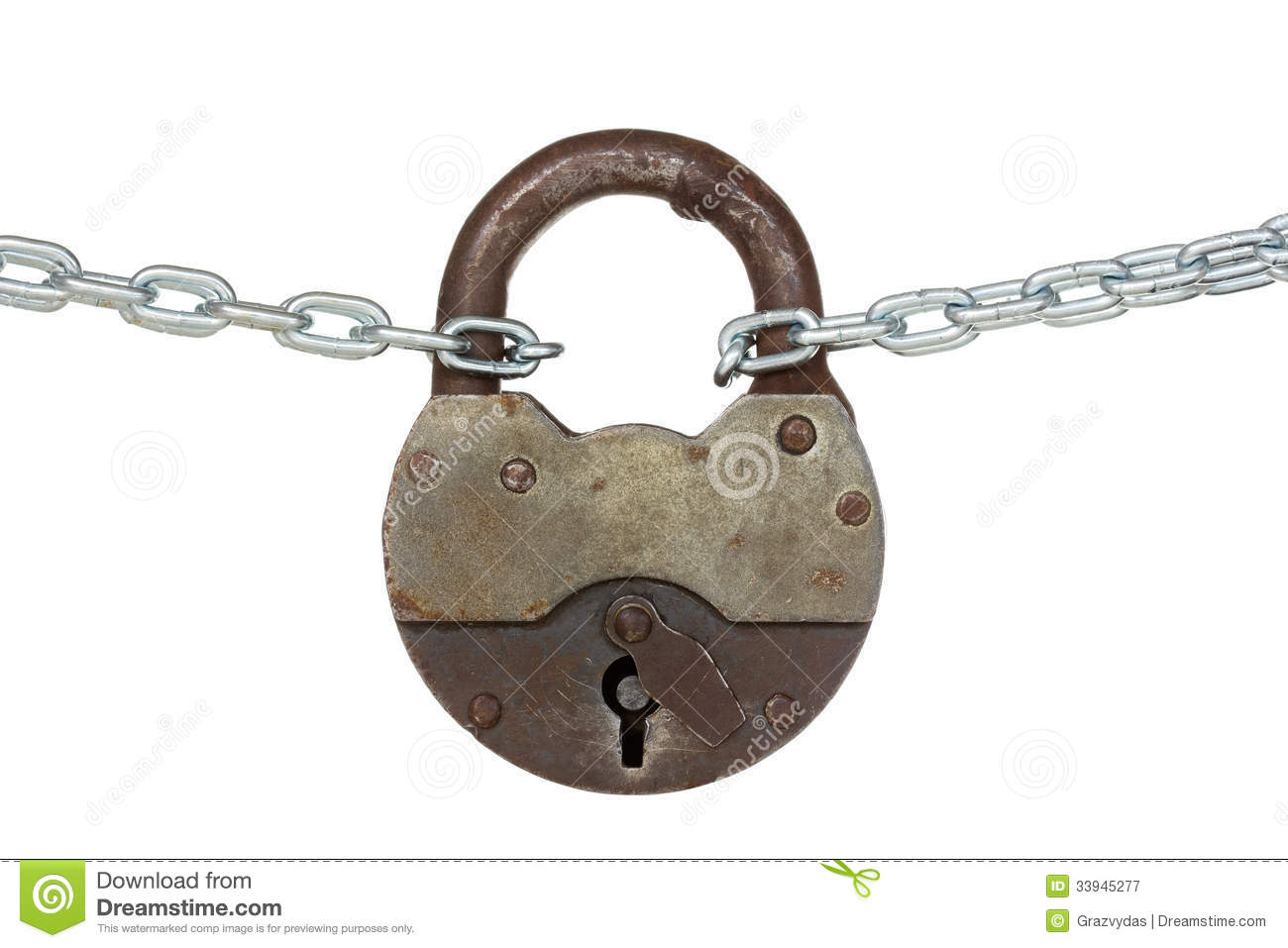 Old padlock and chain