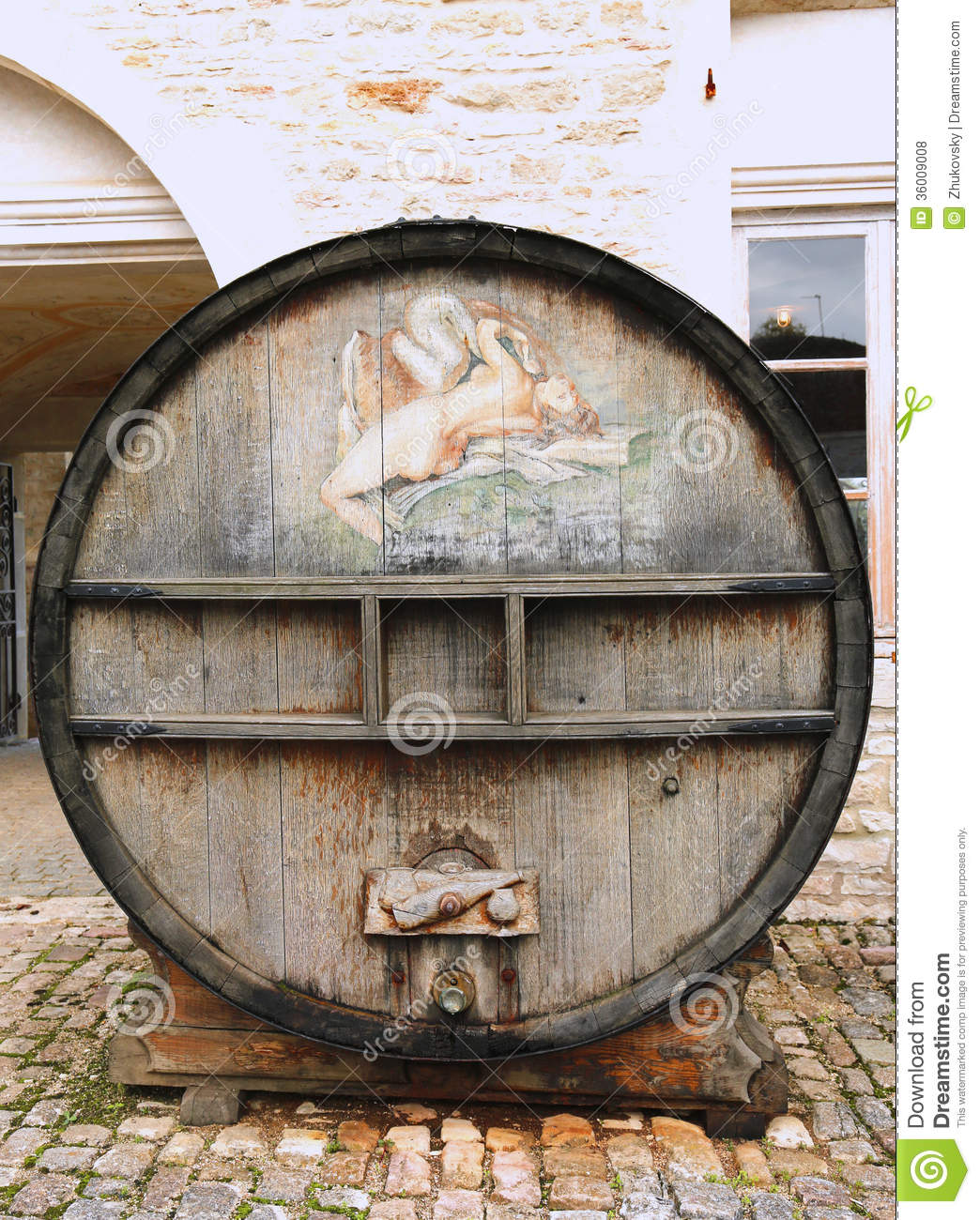 An Old Painted Wine Barrel In Chateau De Pommard, France Editorial ...