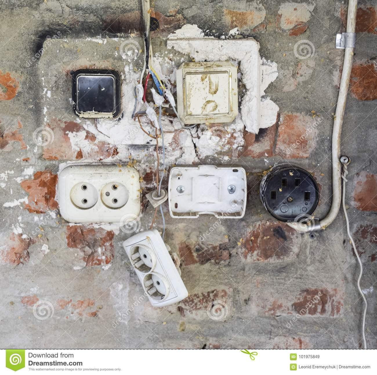Old Panel With Switches And Sockets. Old Electrical Wiring Stock ...