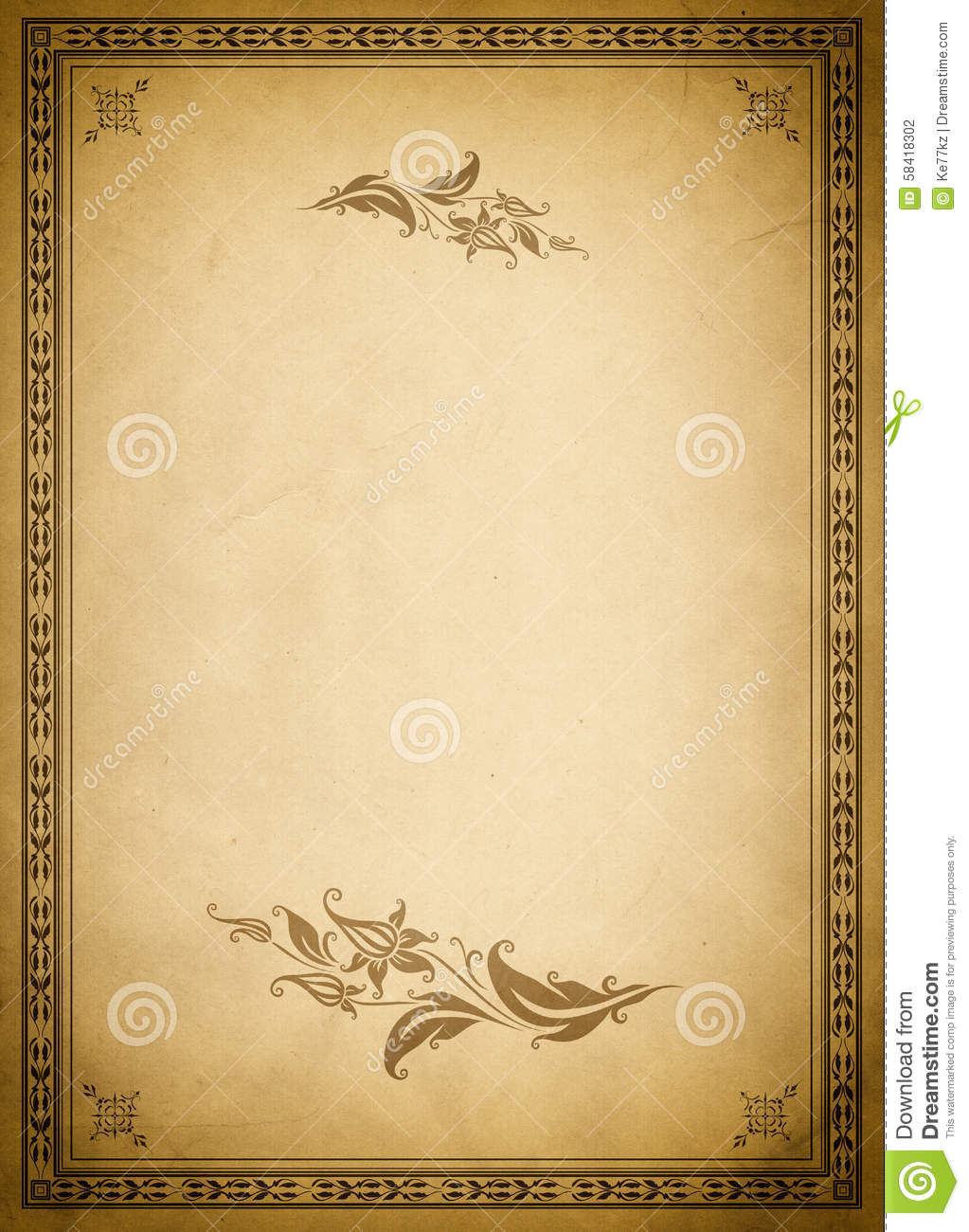 Old Paper Backdrop And Fashioned Border Stock Photo