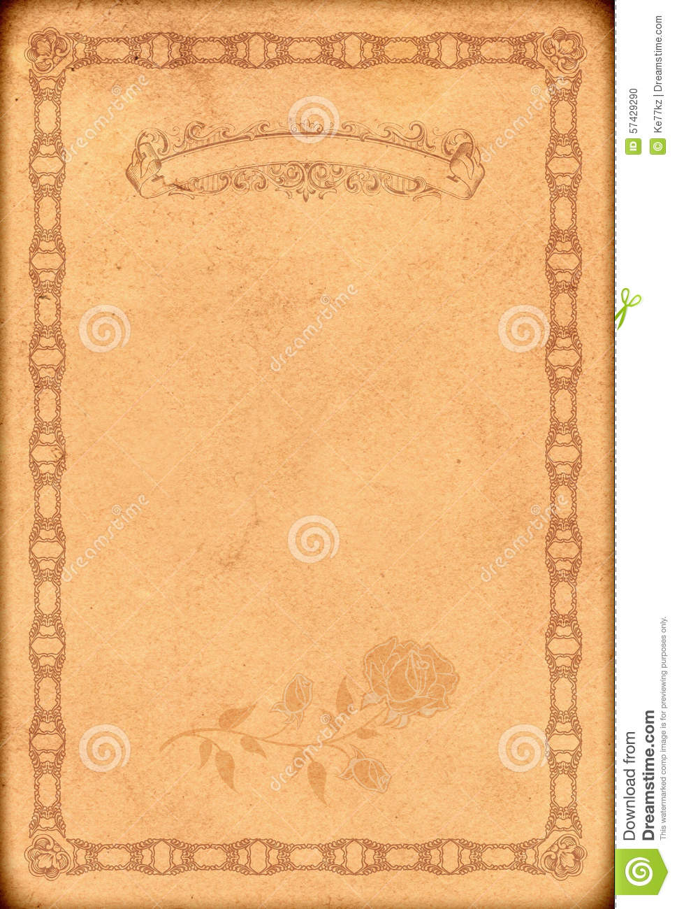 Old Fashioned Book Cover Design : Old paper backdrop with fashioned decorative border