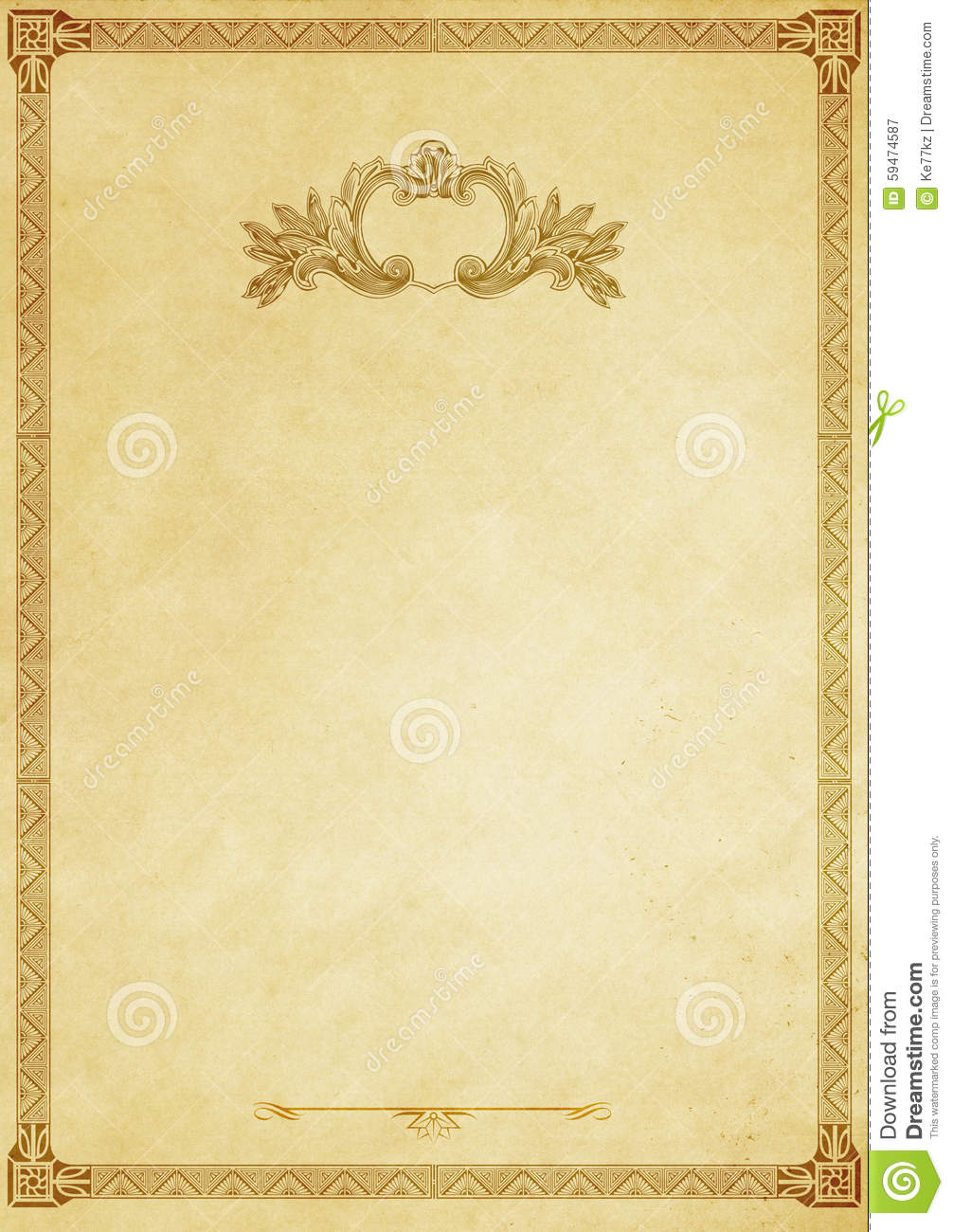 old paper background with decorative vintage border. stock