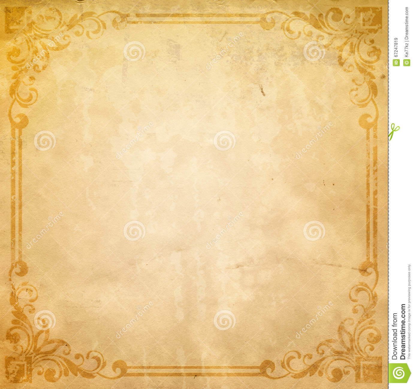 Old Paper Background With Old-fashioned Border. Stock ...