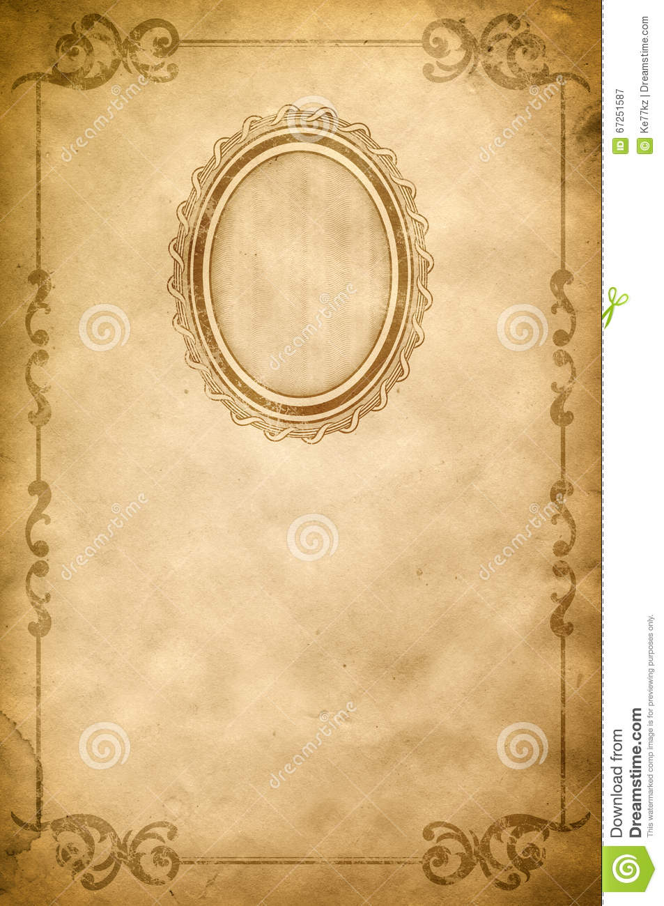 Old Paper Background With Old-fashioned Frame And Border ...