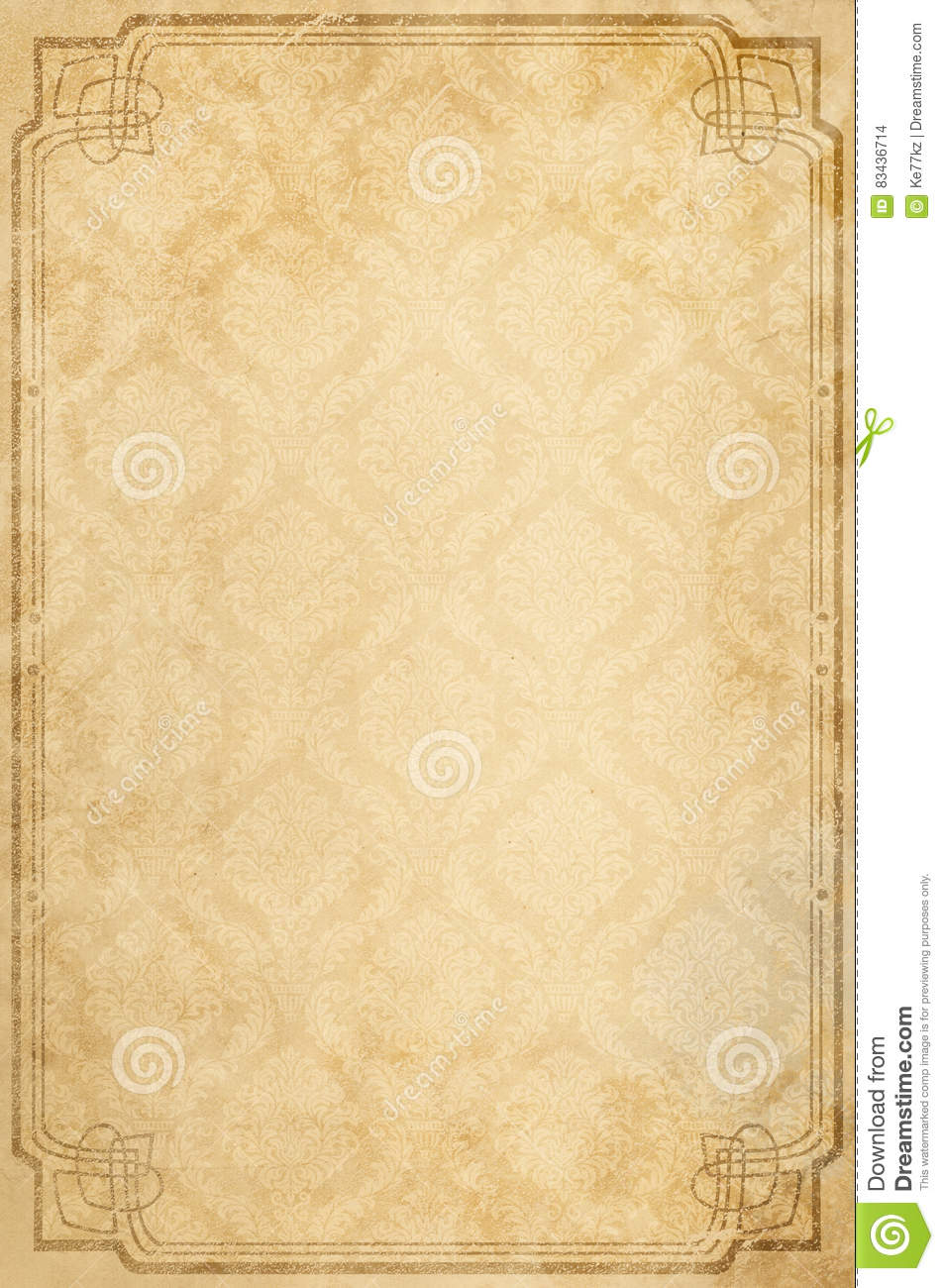 old paper background with patterns and border. stock photo - image