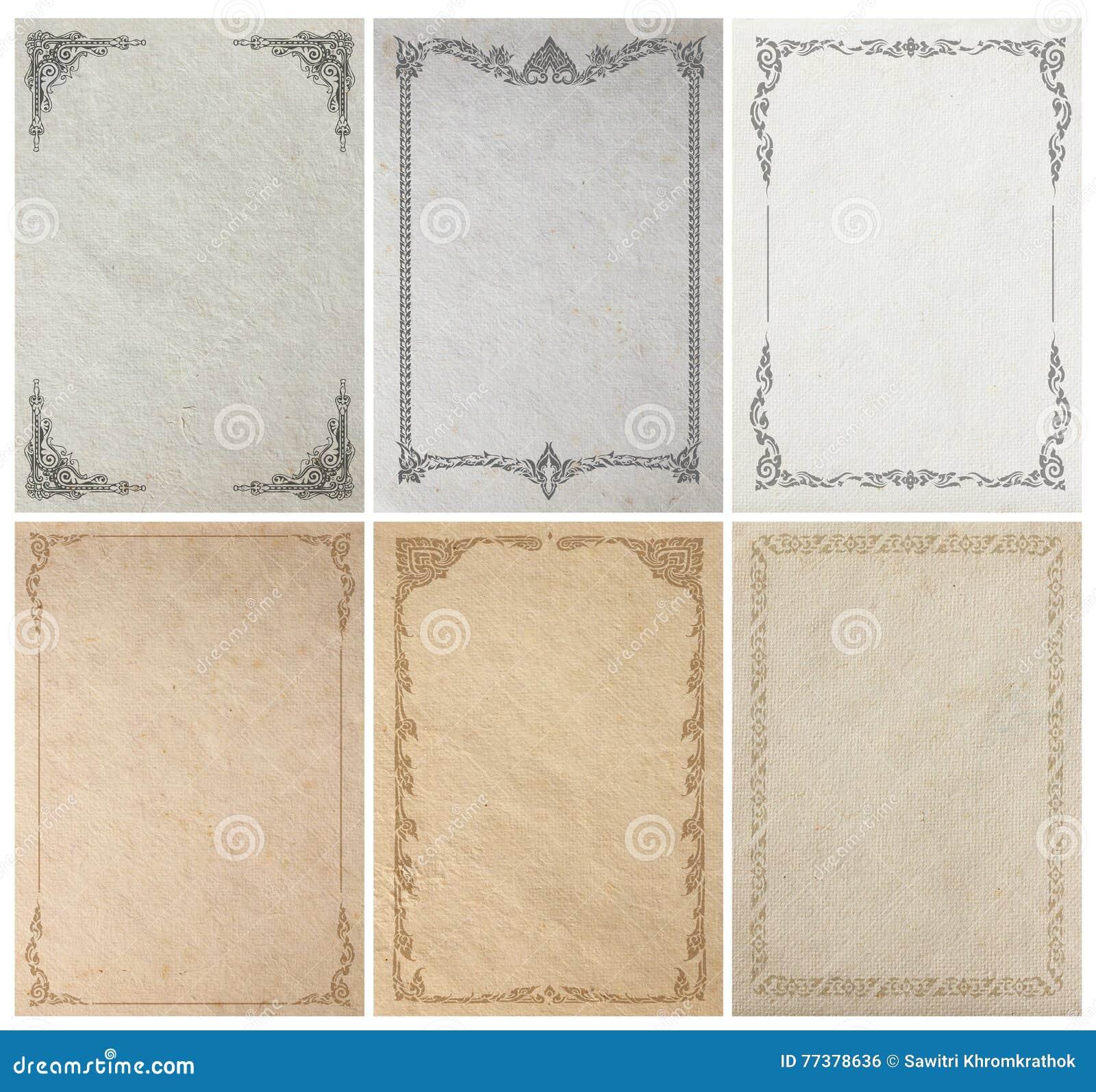Old paper background texture with vintage frame border
