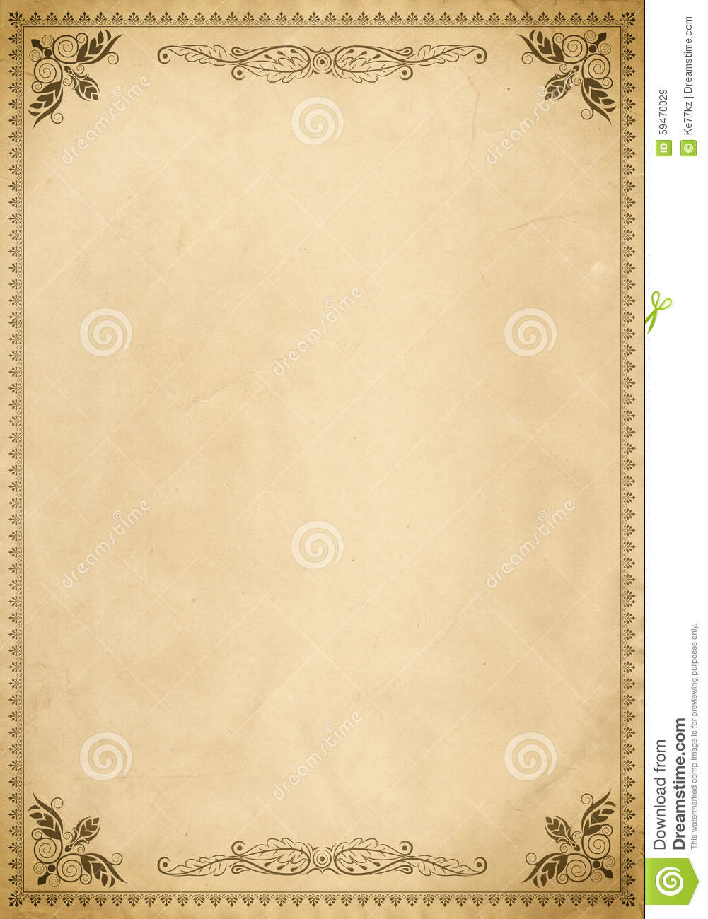 old paper background with vintage border. stock illustration