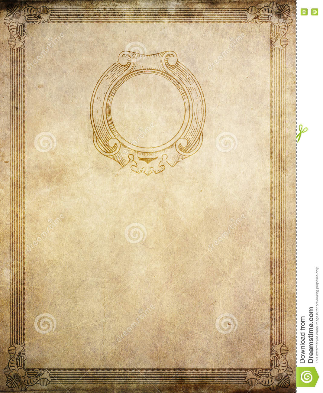 old paper background with vintage border and frame. stock image