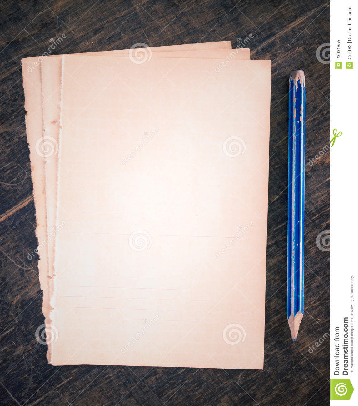 old paper cards and pencil stock image image of backdrop