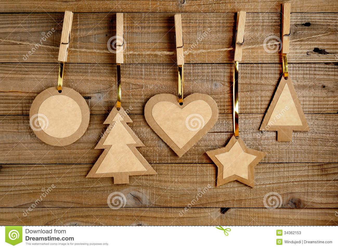 Old paper christmas decorations stock photos image 34362153 for Wooden christmas decorations