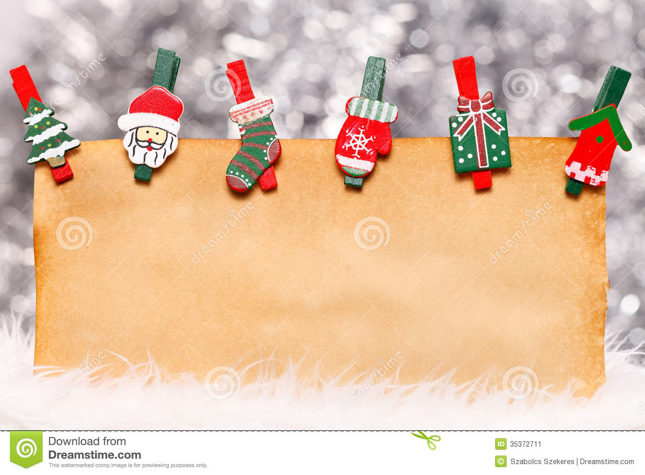 Old Paper With Christmas Ornaments Stock Image Image Of