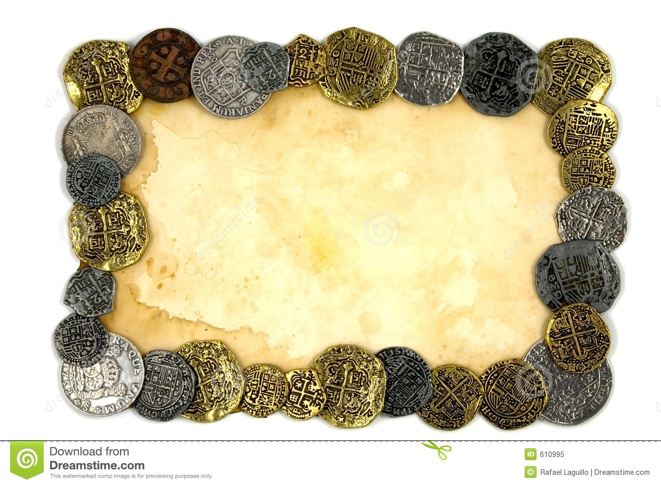 Old paper and coins