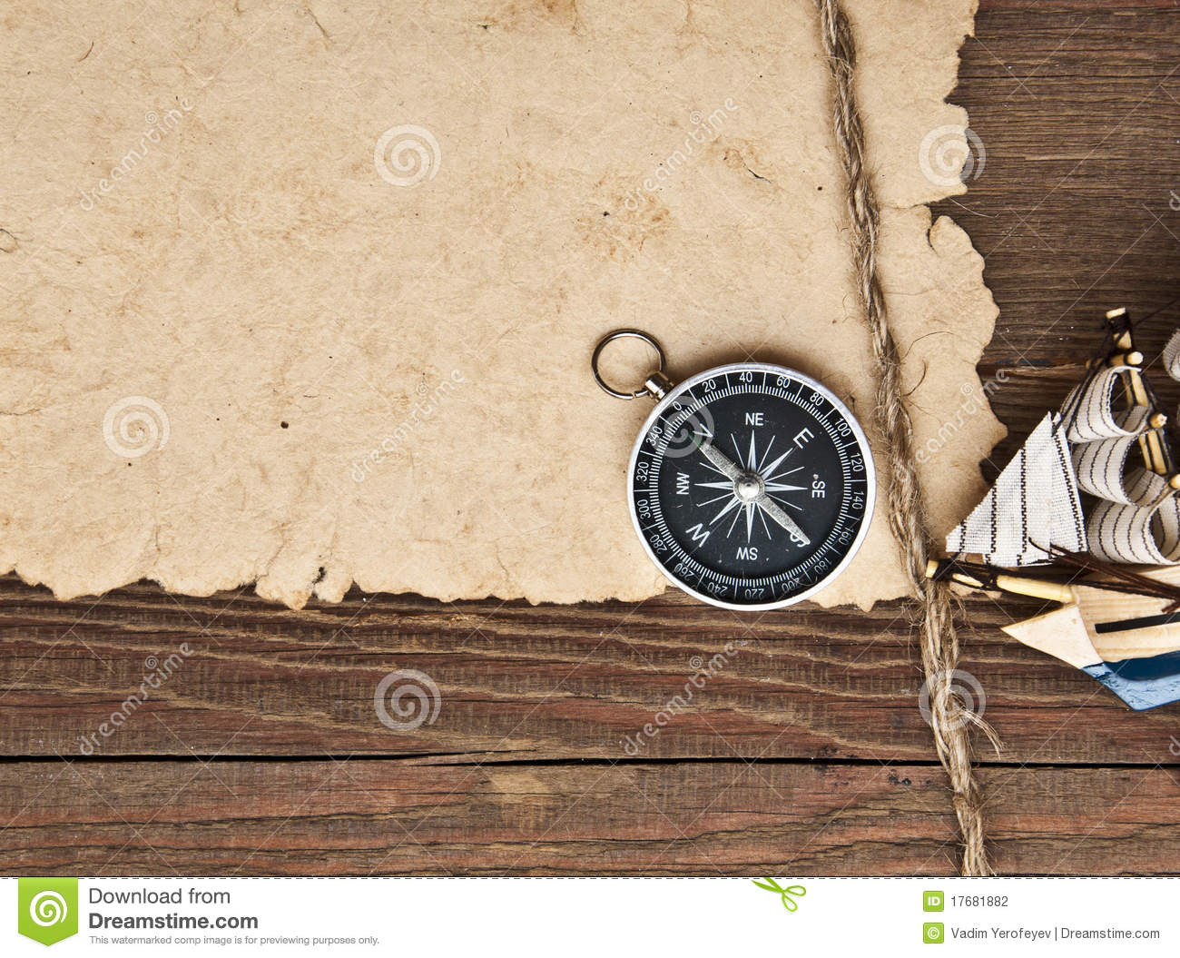Old Paper, Compass, Rope And Model Classic Boat Stock ...