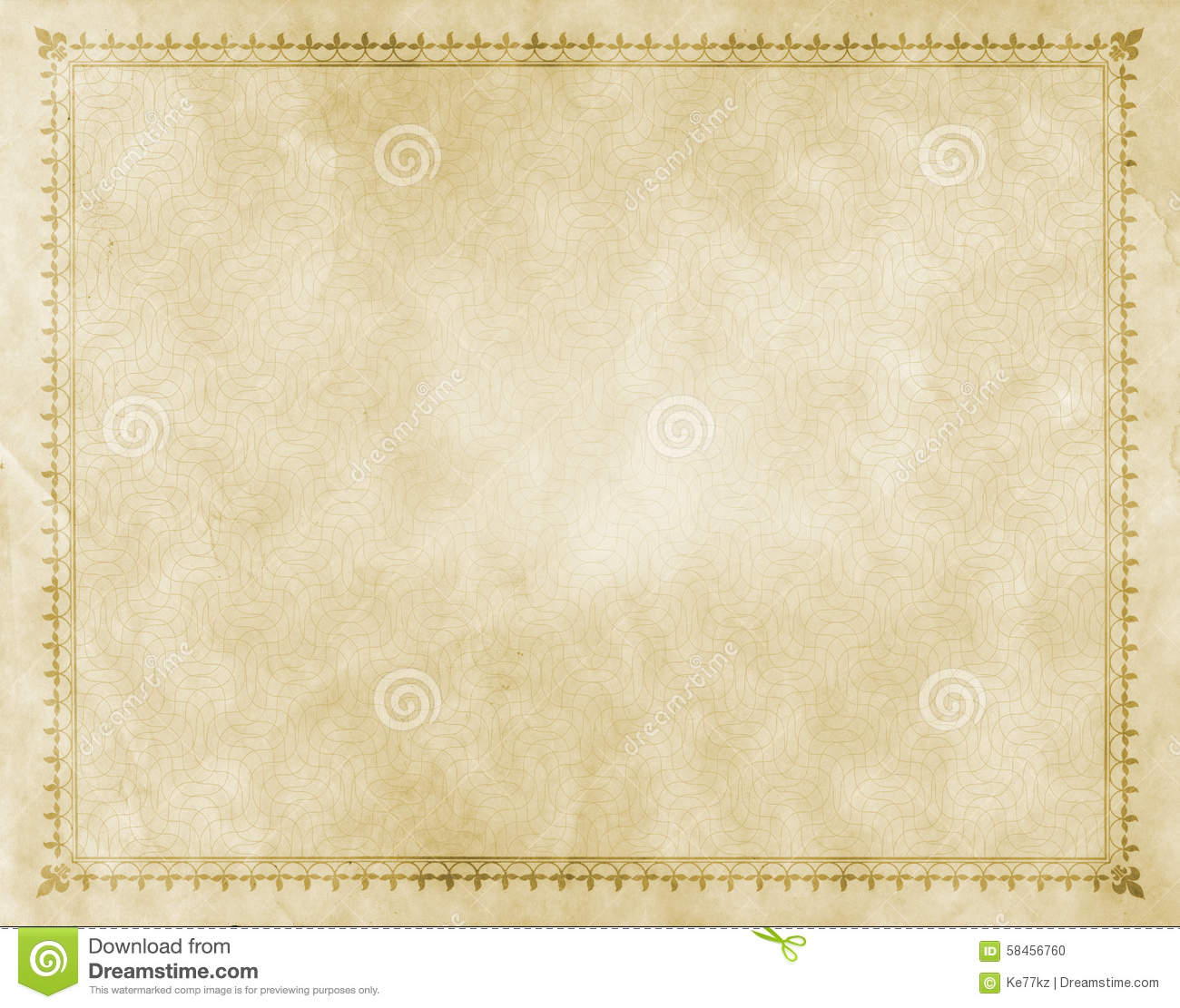 old paper with decorative vintage border. stock photo - image of
