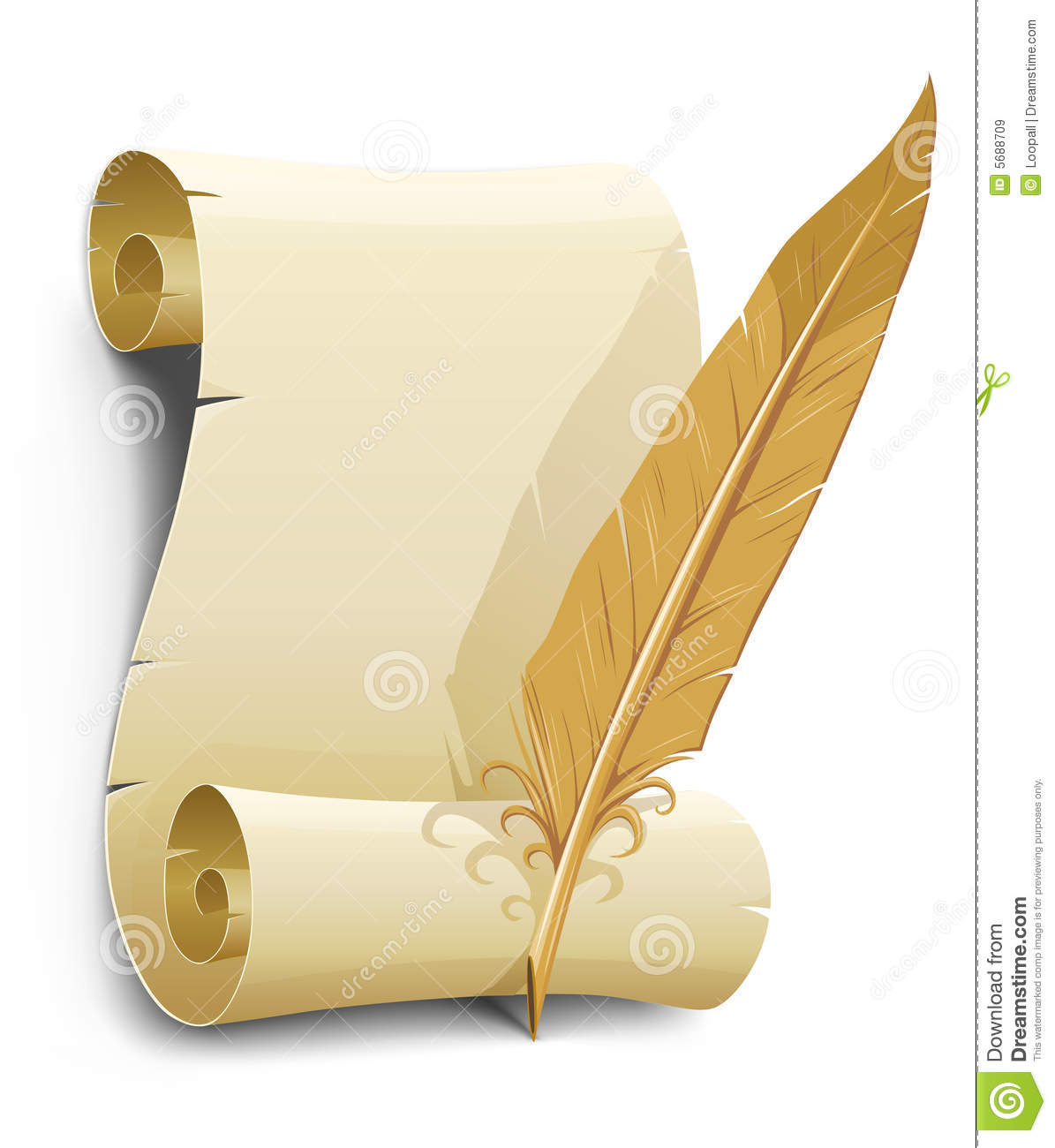 Old Paper With Feather Illustration Royalty Free Stock