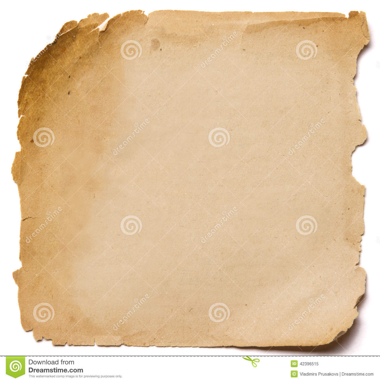 Old paper grunge texture, empty yellow page isolated on white ba