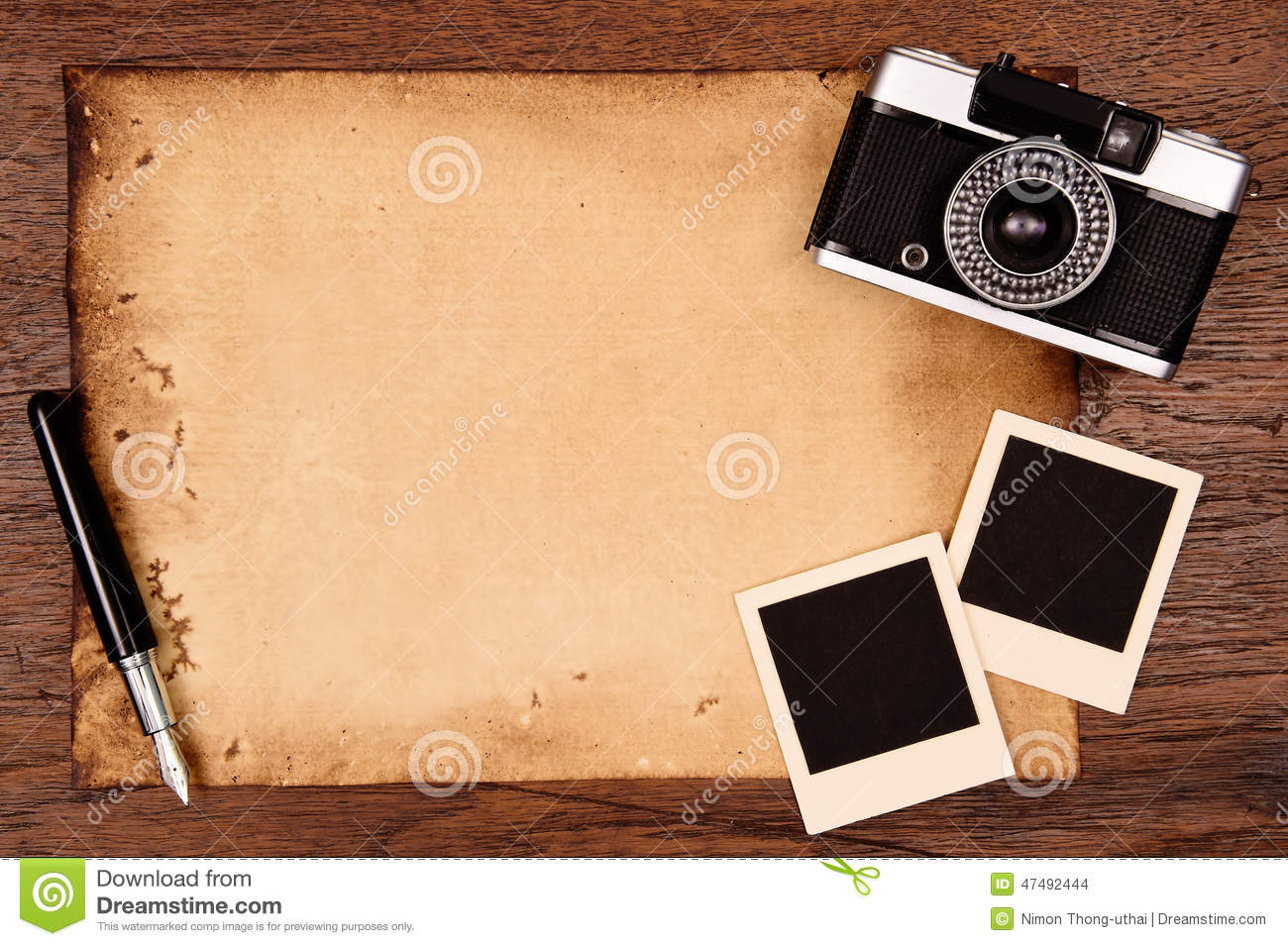 old paper ink pen and vintage photo frame with camera stock photo image 47492444. Black Bedroom Furniture Sets. Home Design Ideas