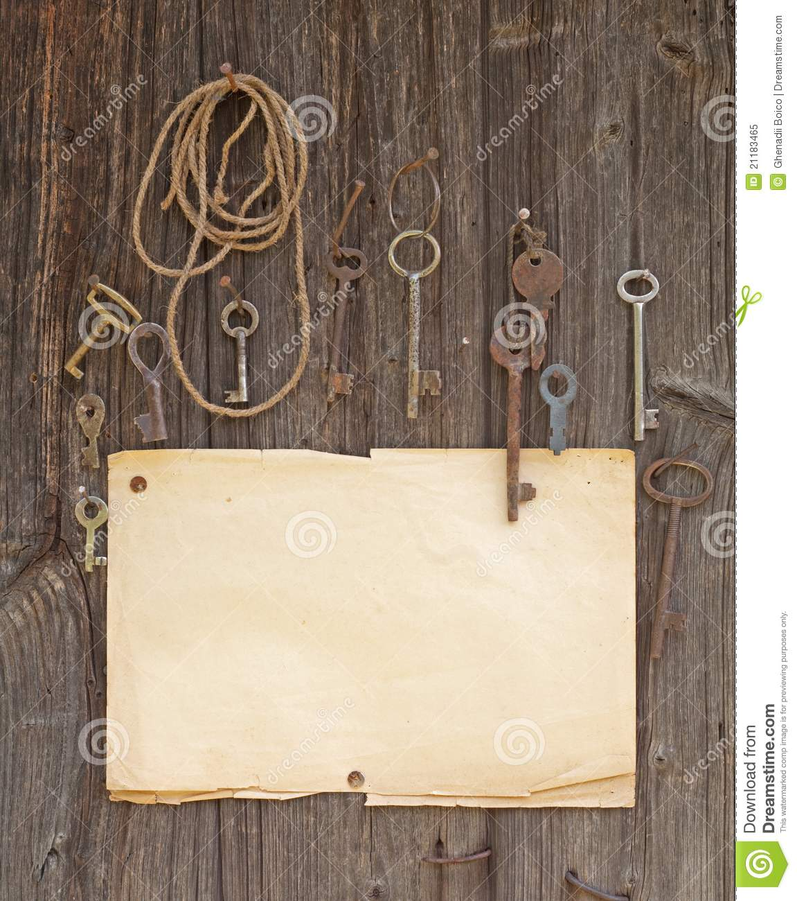 Old paper and keys