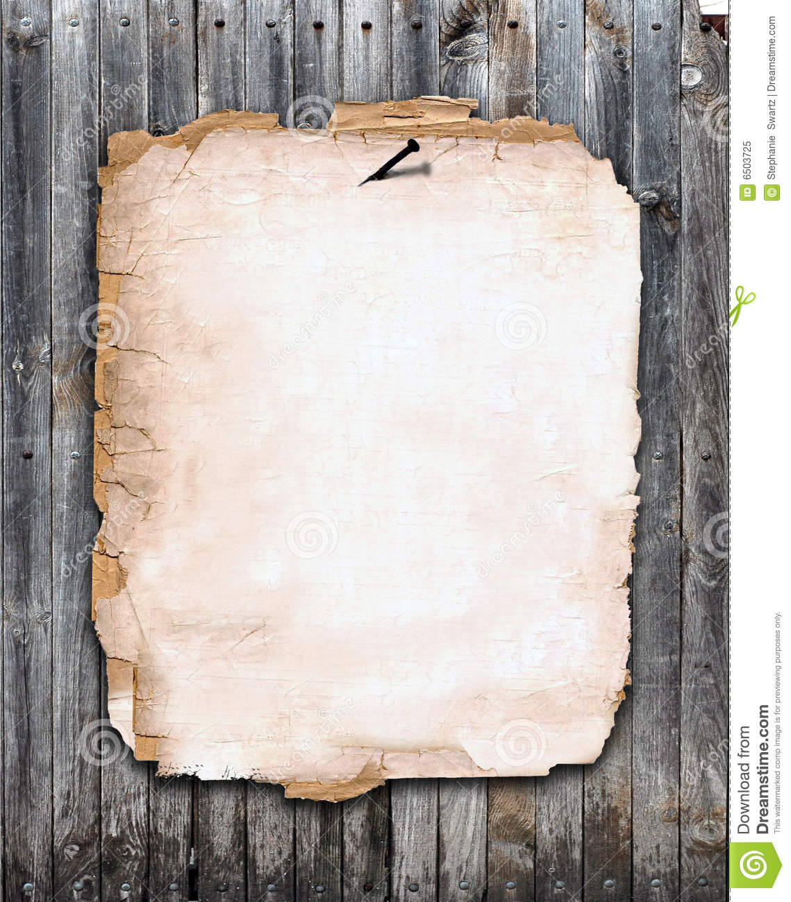 Old Paper Nailed To A Wood Fence Stock Illustration