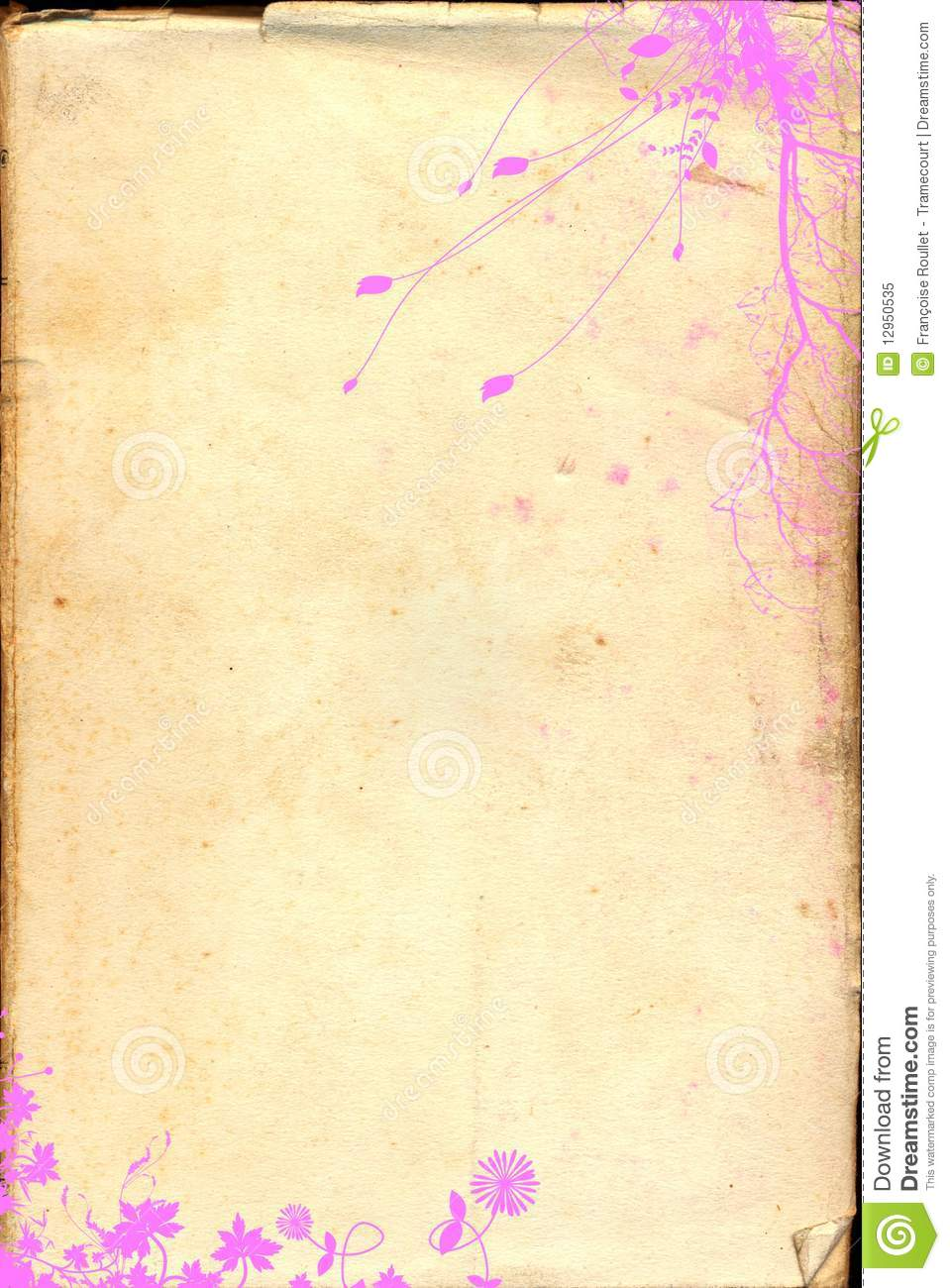 old paper pink floral background royalty free stock photo