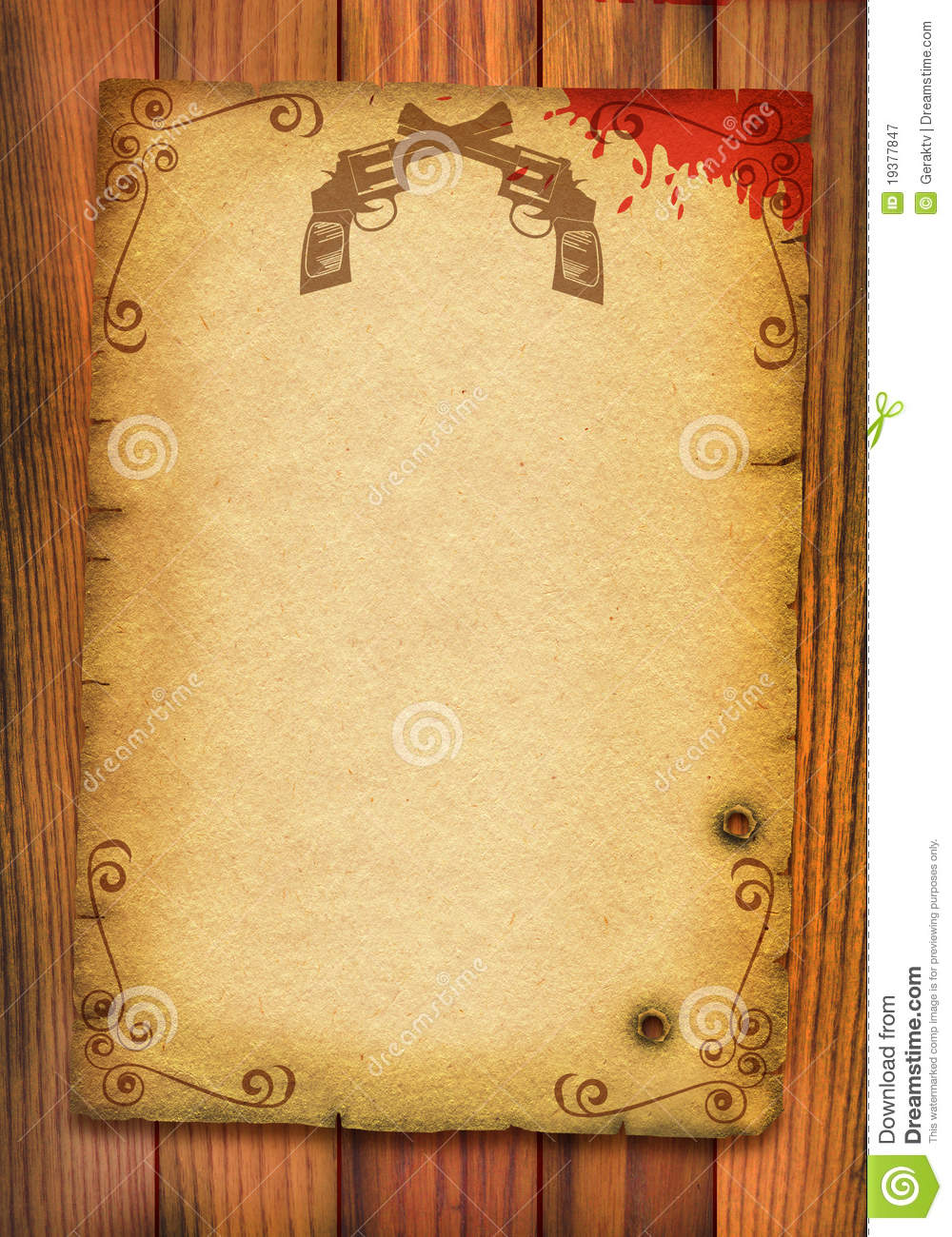 Old Paper Poster Background With Guns And Blood. Royalty ...