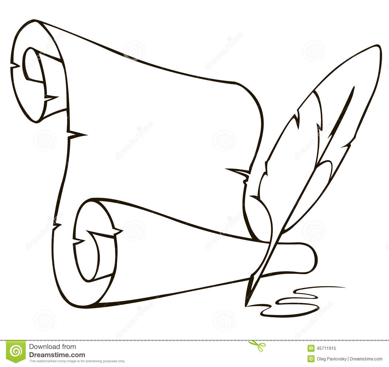 old paper scroll and feather stock vector - illustration of design
