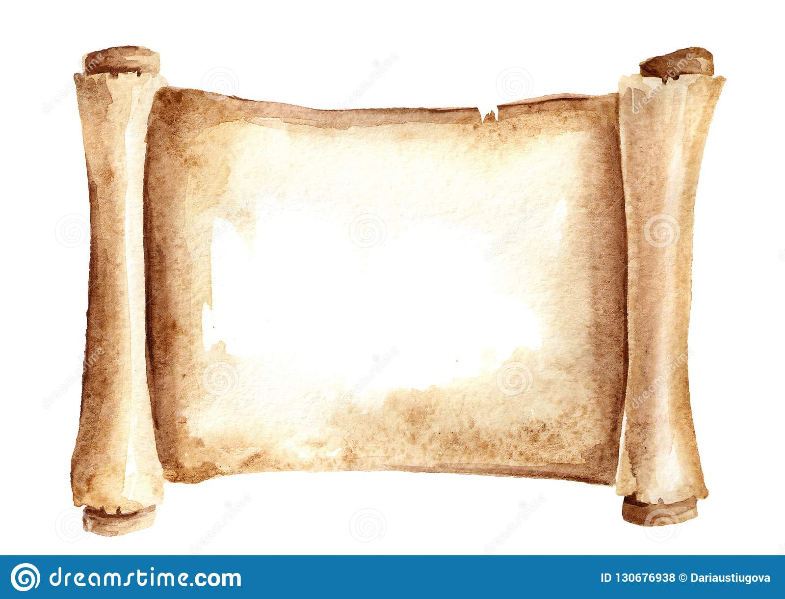 Old paper scroll or horizontal parchment. Watercolor hand drawn illustration isolated on white background.