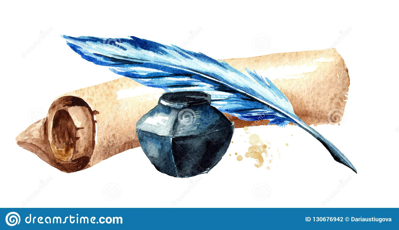 Old paper scroll with pen and inkwell . Watercolor hand drawn illustration, isolated on white background.