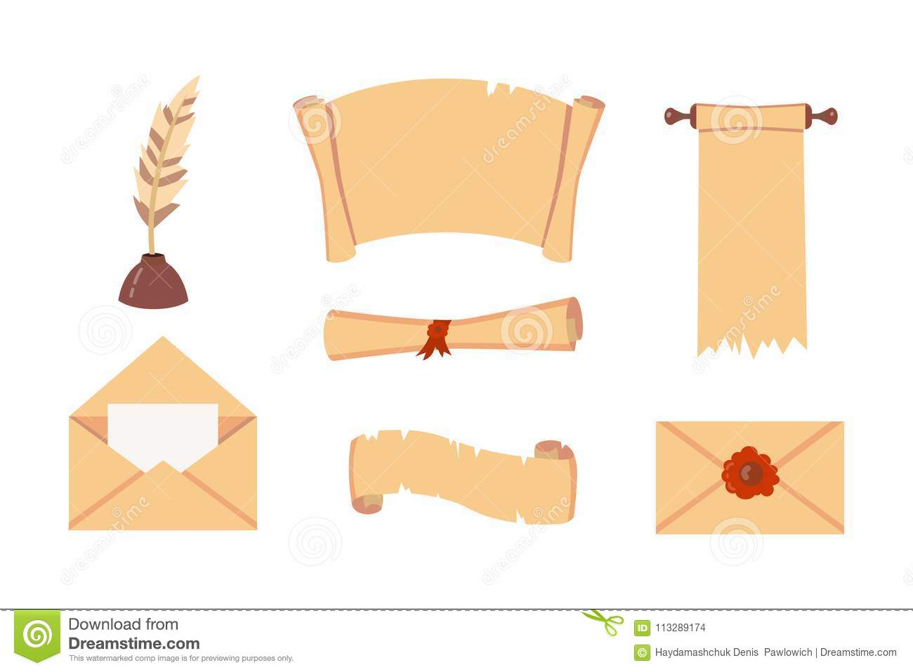 Old Paper Scroll Vector Set  Retro Document Script With Copyspace