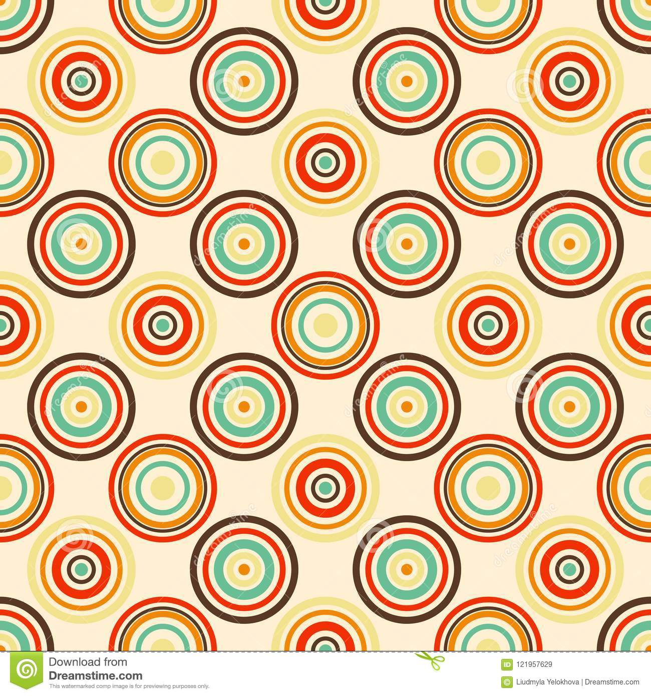 Old paper seamless pattern with colorful retro rings