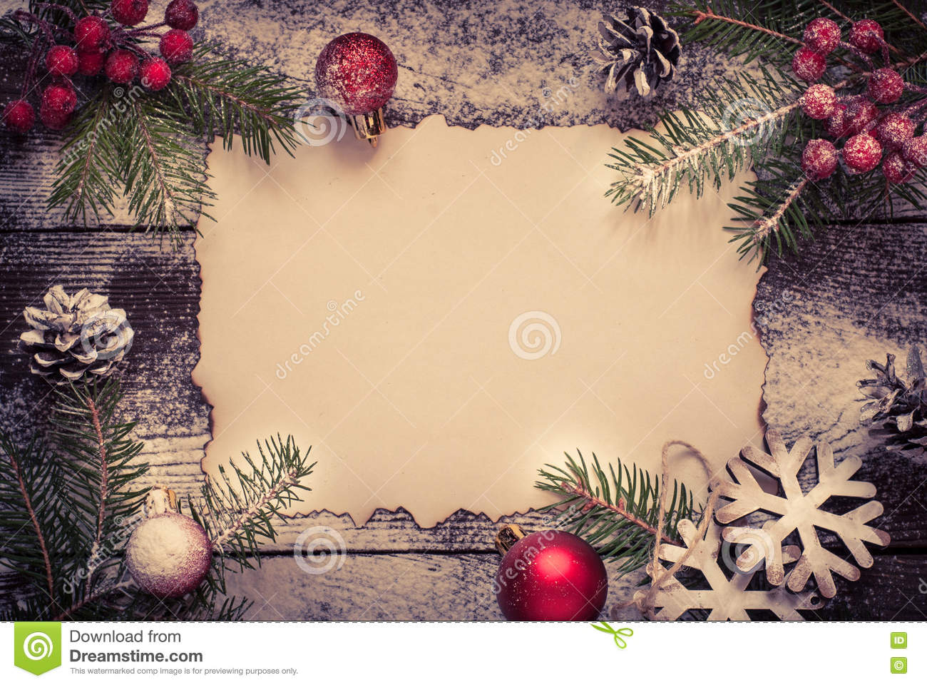 Old Paper Sheet With Christmas Decorations Stock Photo