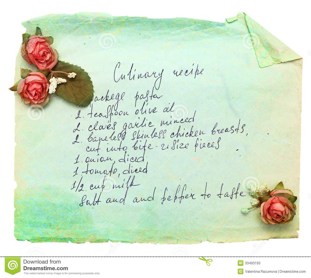 Old Paper Sheet With Cooking Recipe. Stock Photos - Image: 33493193