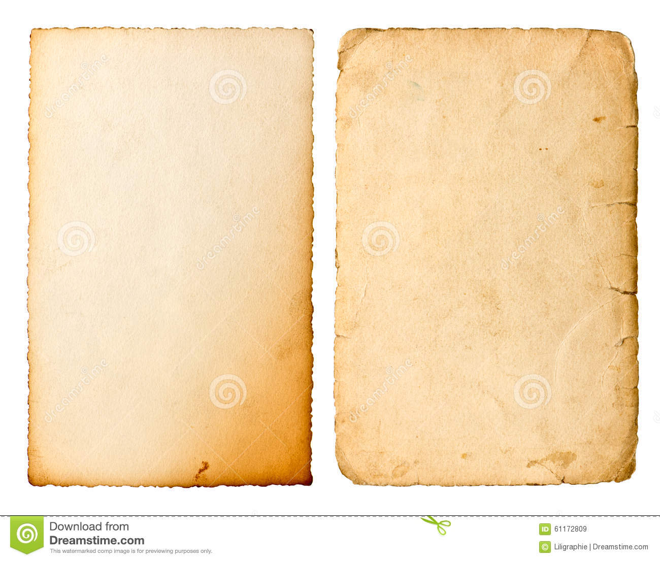 Old paper sheet with edges isolated on white background
