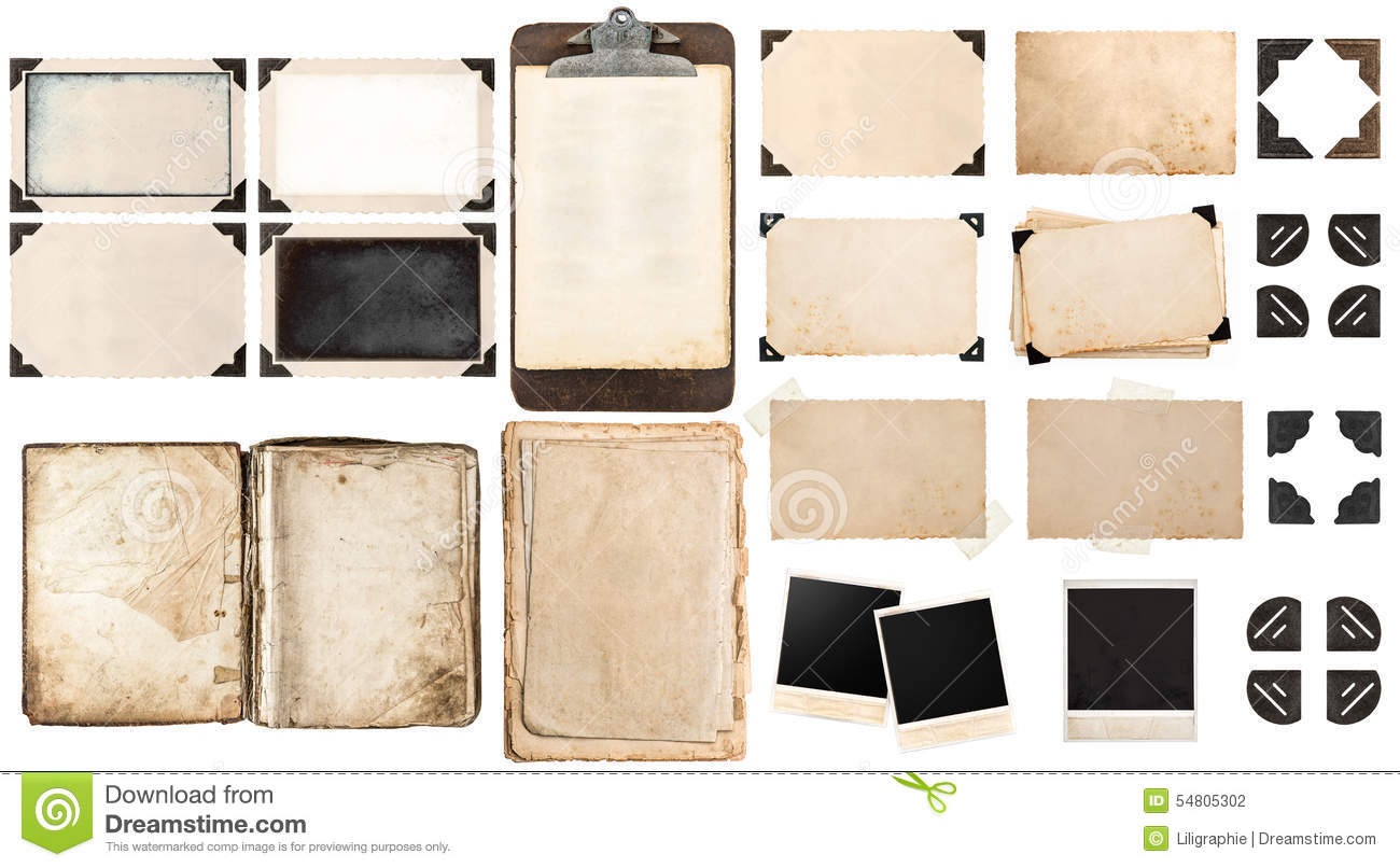 Old Paper Sheets Book Vintage Photo Frames And Corners Antique
