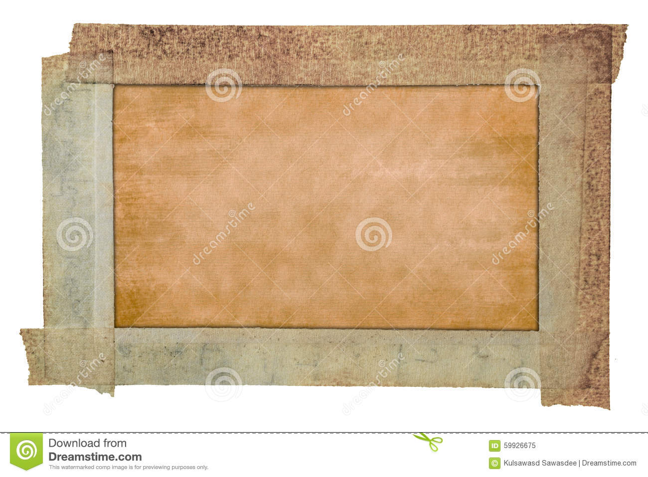 Old paper tape frame, Vintage paper texture background
