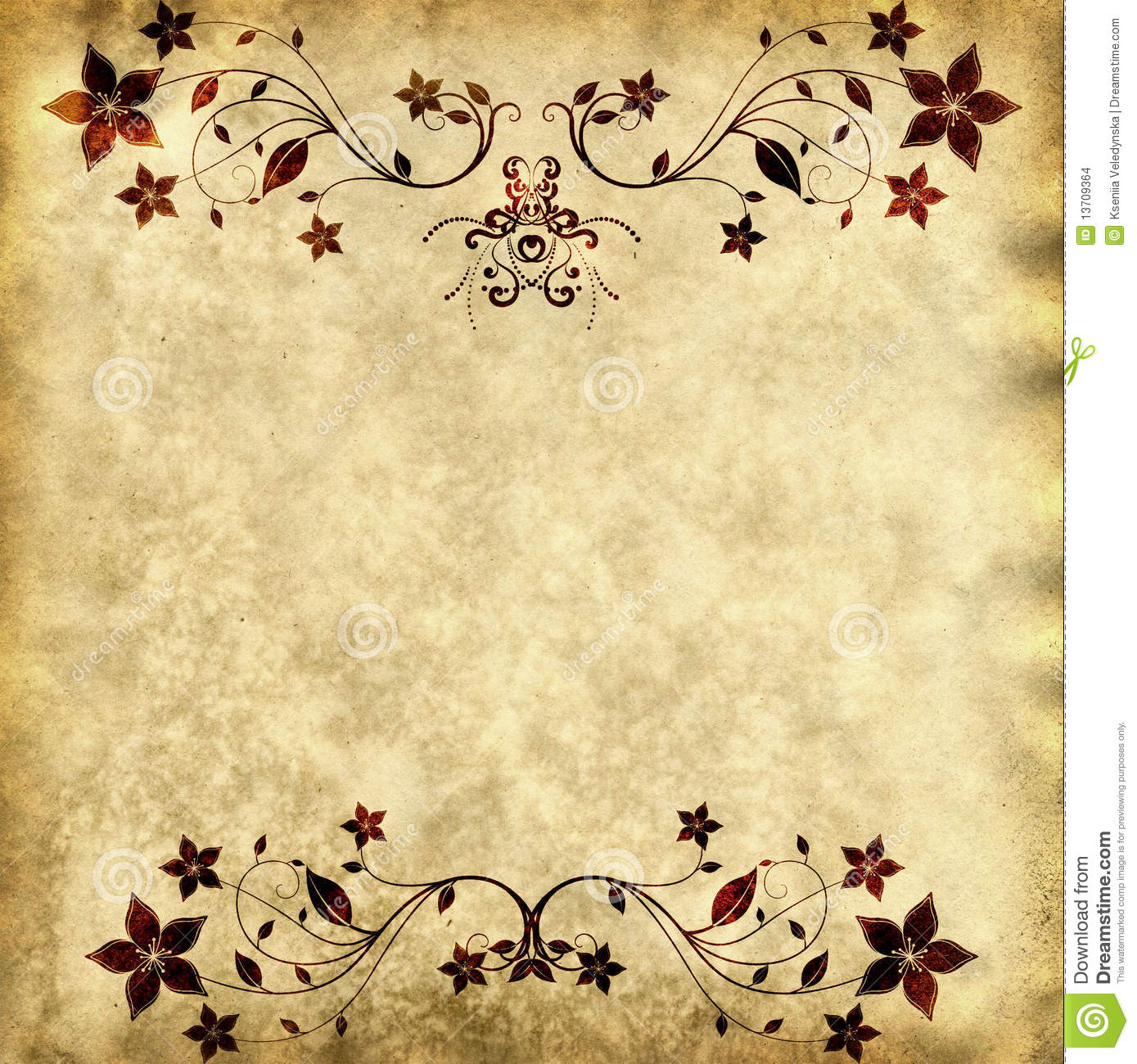 Old paper texture with floral frame