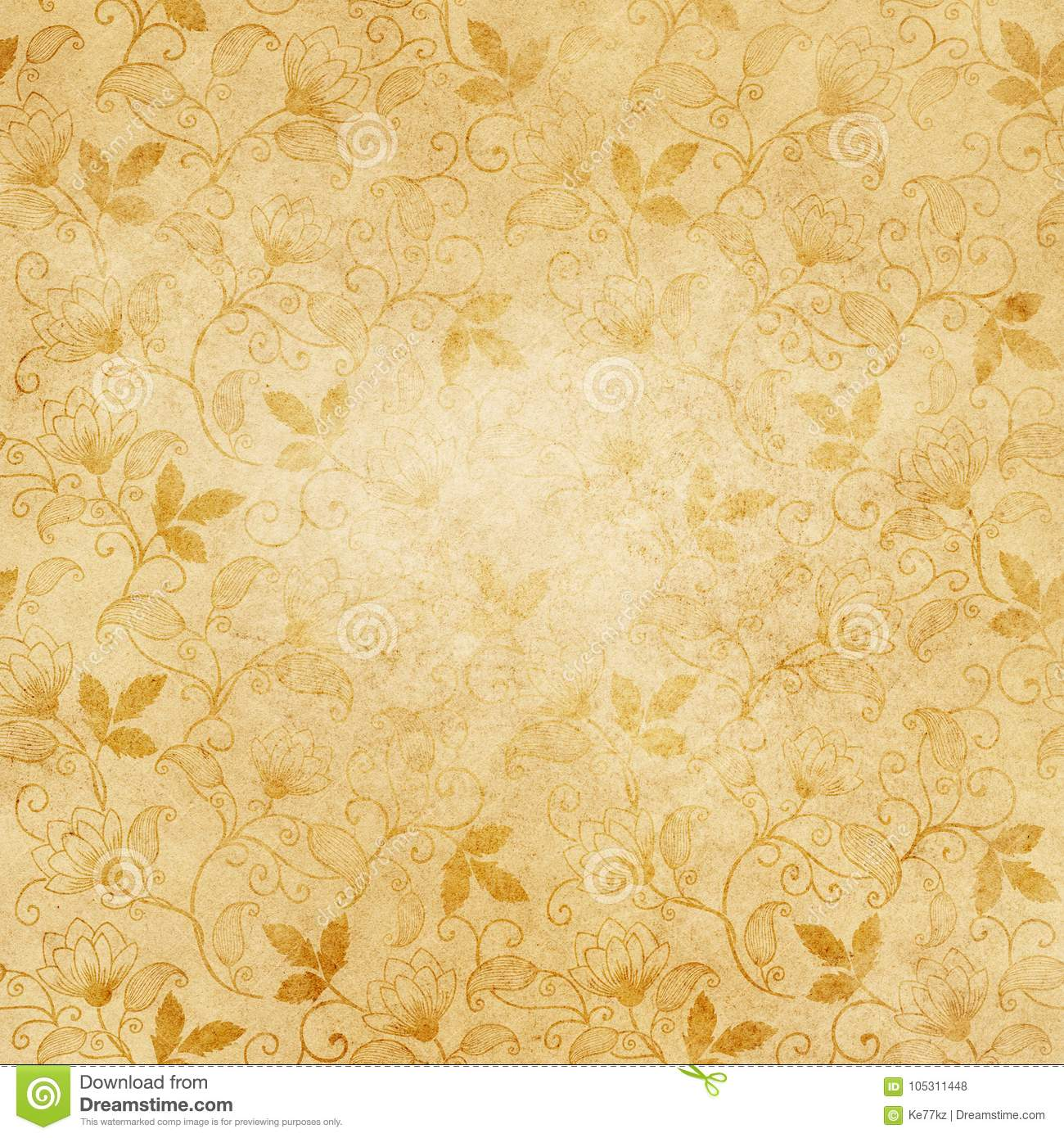Old Paper Texture With Floral Patterns For Background Stock