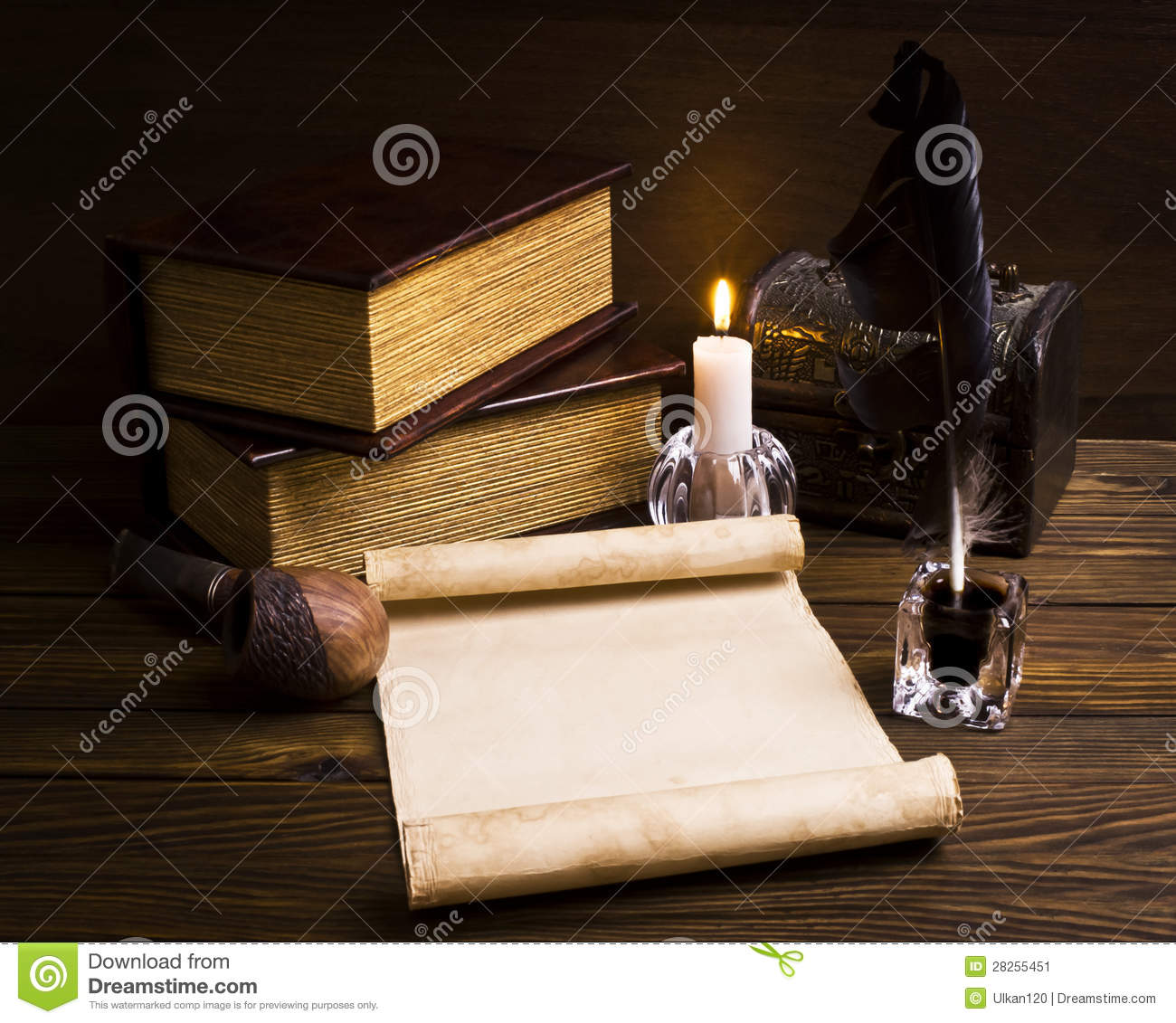 Old papers and books on a wooden table