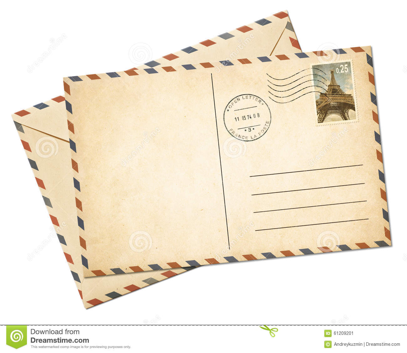 Old Par Avion Postcard And Envelope Isolated Stock Photo
