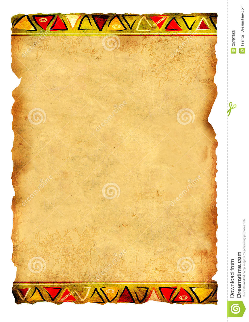 Old Parchment With African Traditional Patterns Royalty Free Stock ...