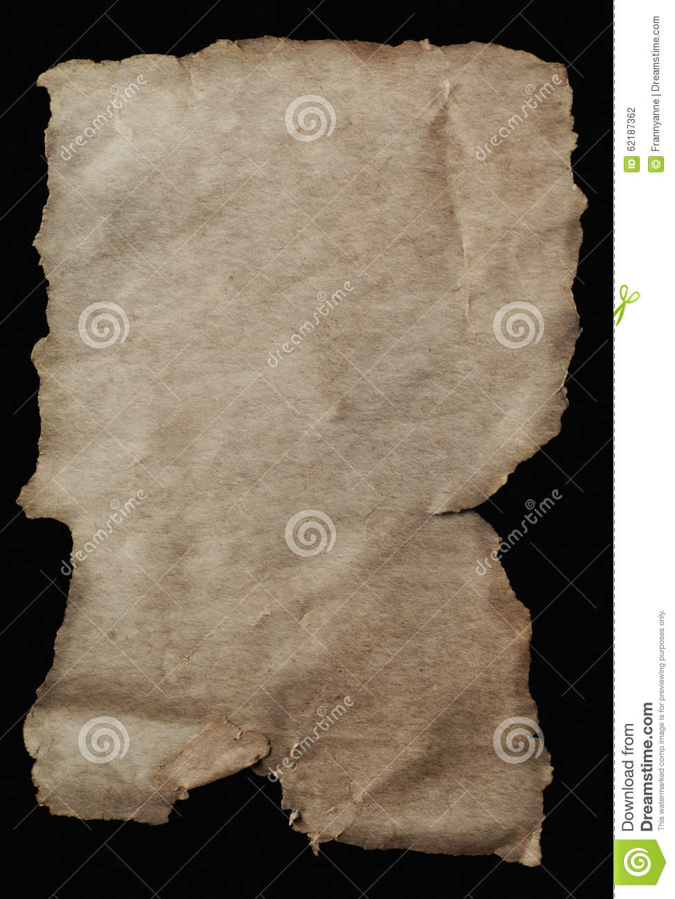 old parchment paper aged with torn edges stock photo