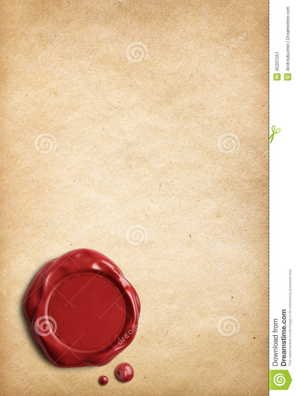 Old Parchment Paper With Red Wax Seal Stock Photo Image