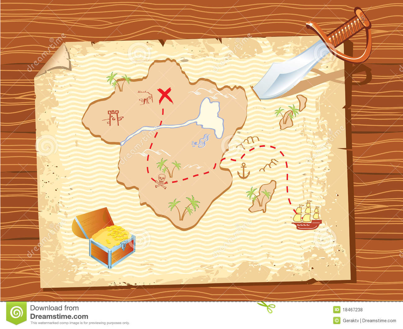 Old Parchment With Pirate Map And Dagger Royalty Free ...