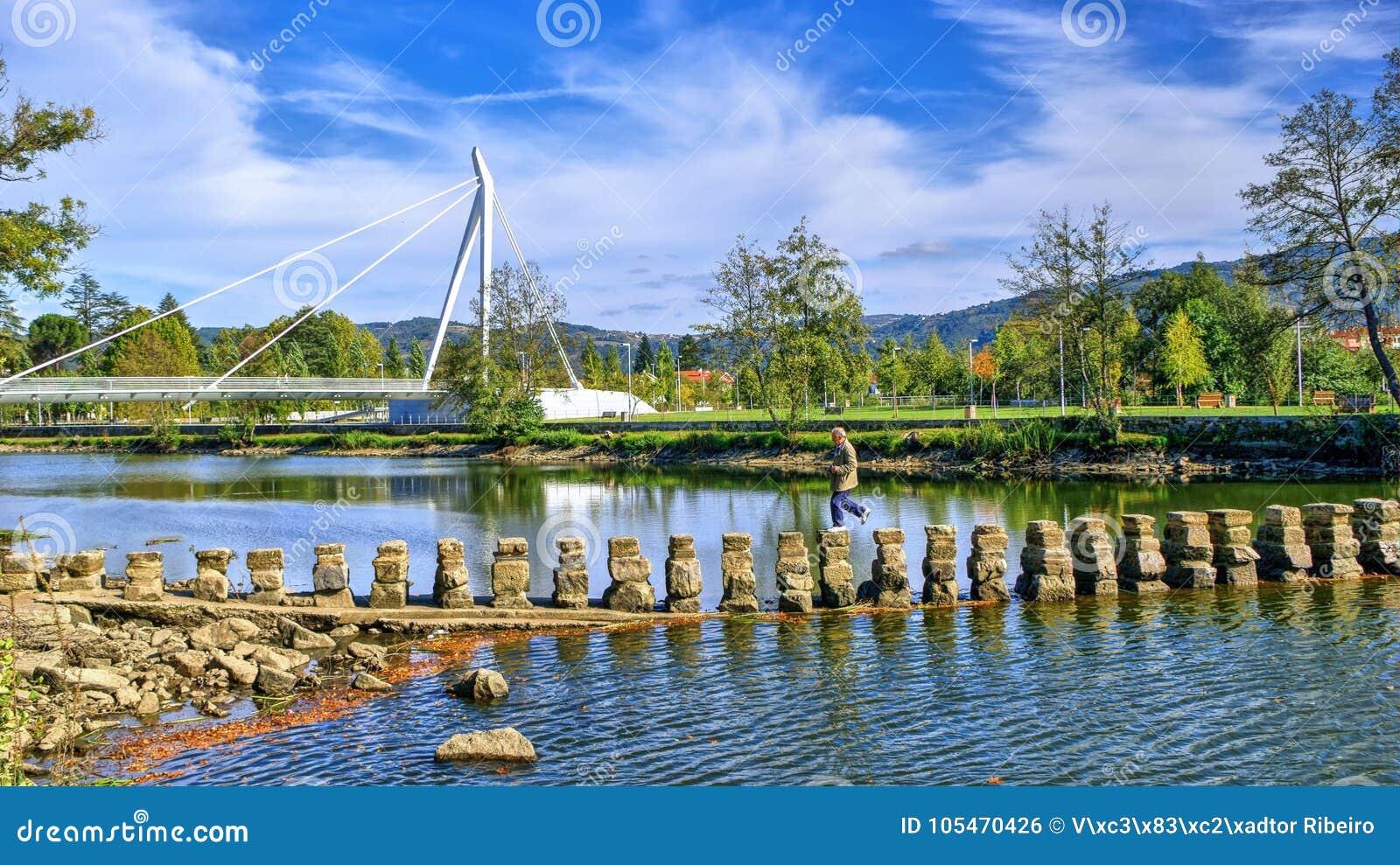 Old pedestrian bridge in tamega river