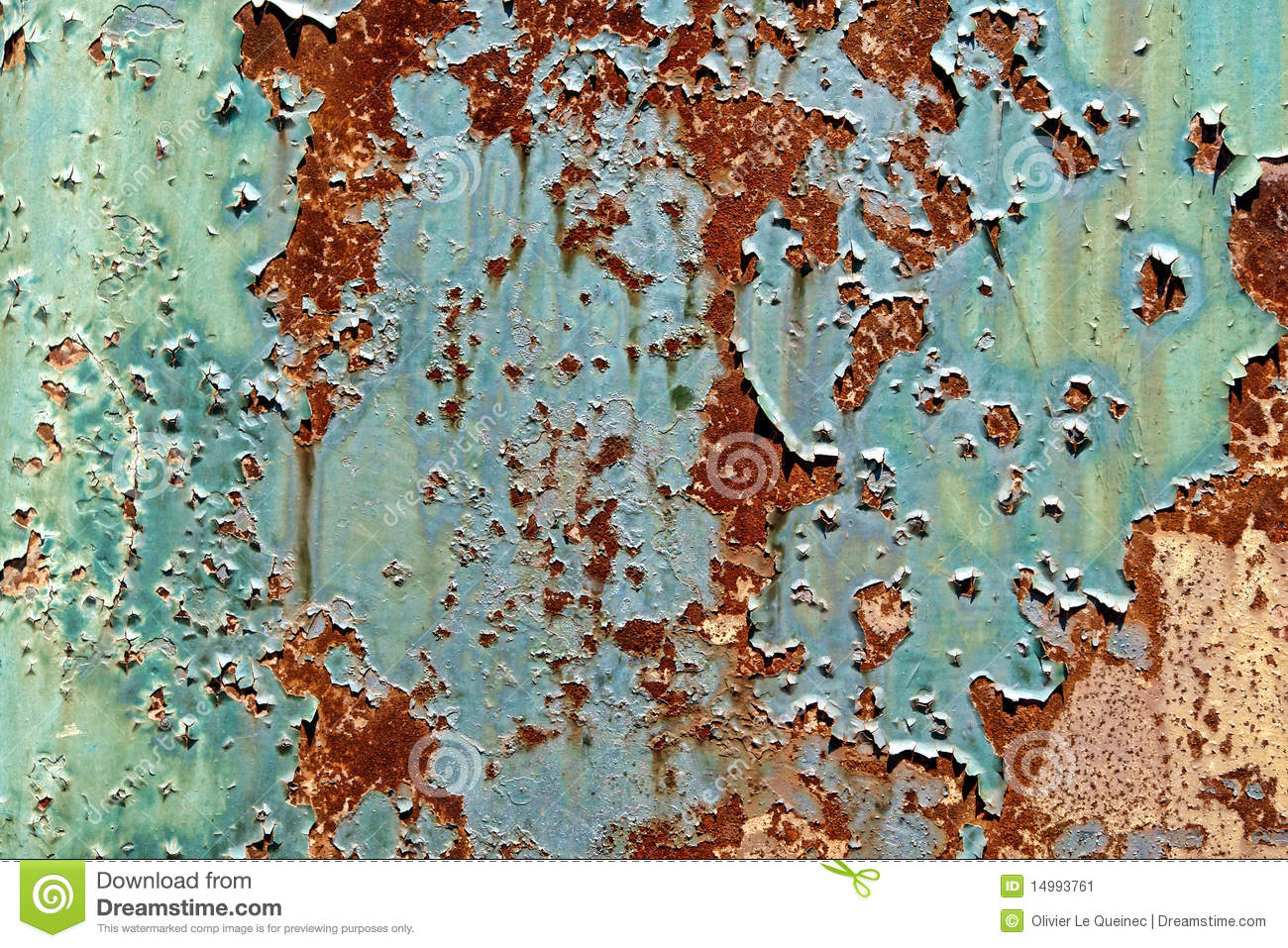 Old Peeling Paint on Rusty Metal Grunge Background