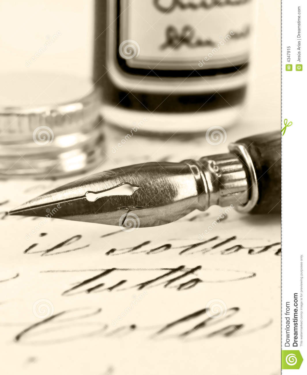 Royalty Free Stock Photo  Old pen and retro calligraphy Old Calligraphy Pen