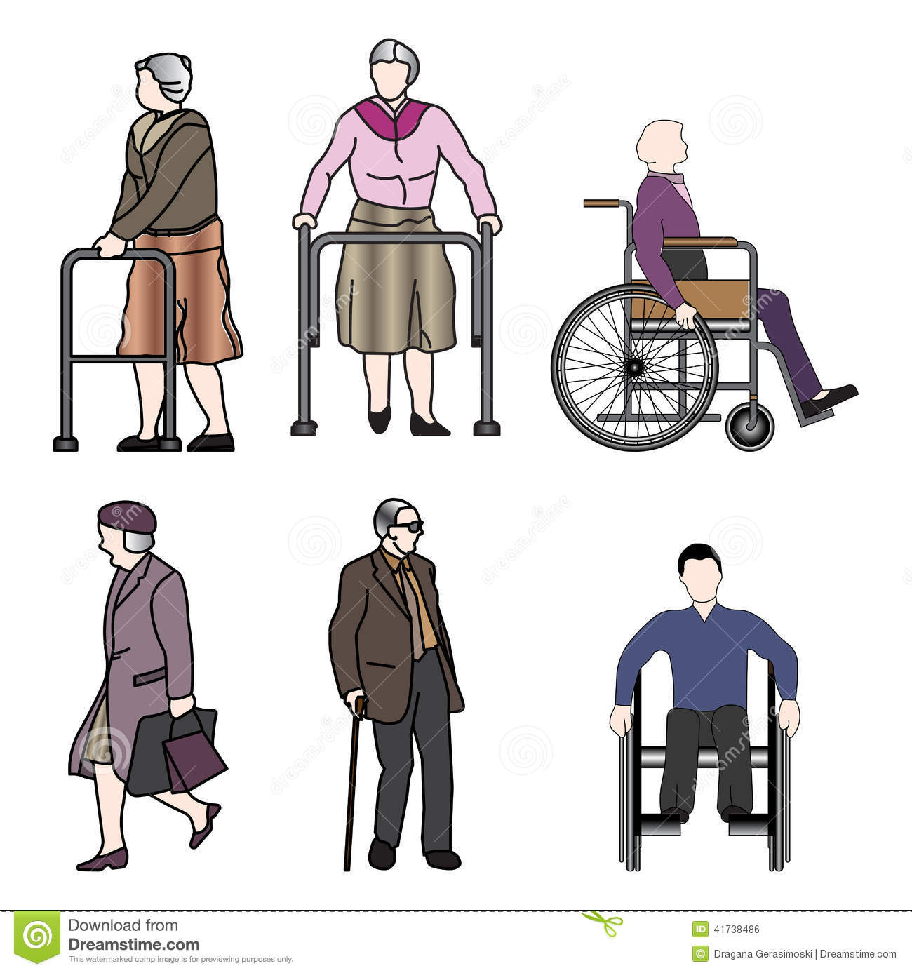 Old People And Disabled Persons Stock Illustration Image