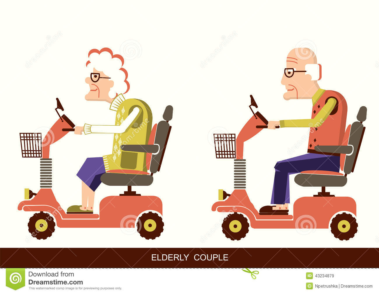 Pensioners old man and old woman drive mobility scooters.Vector ...