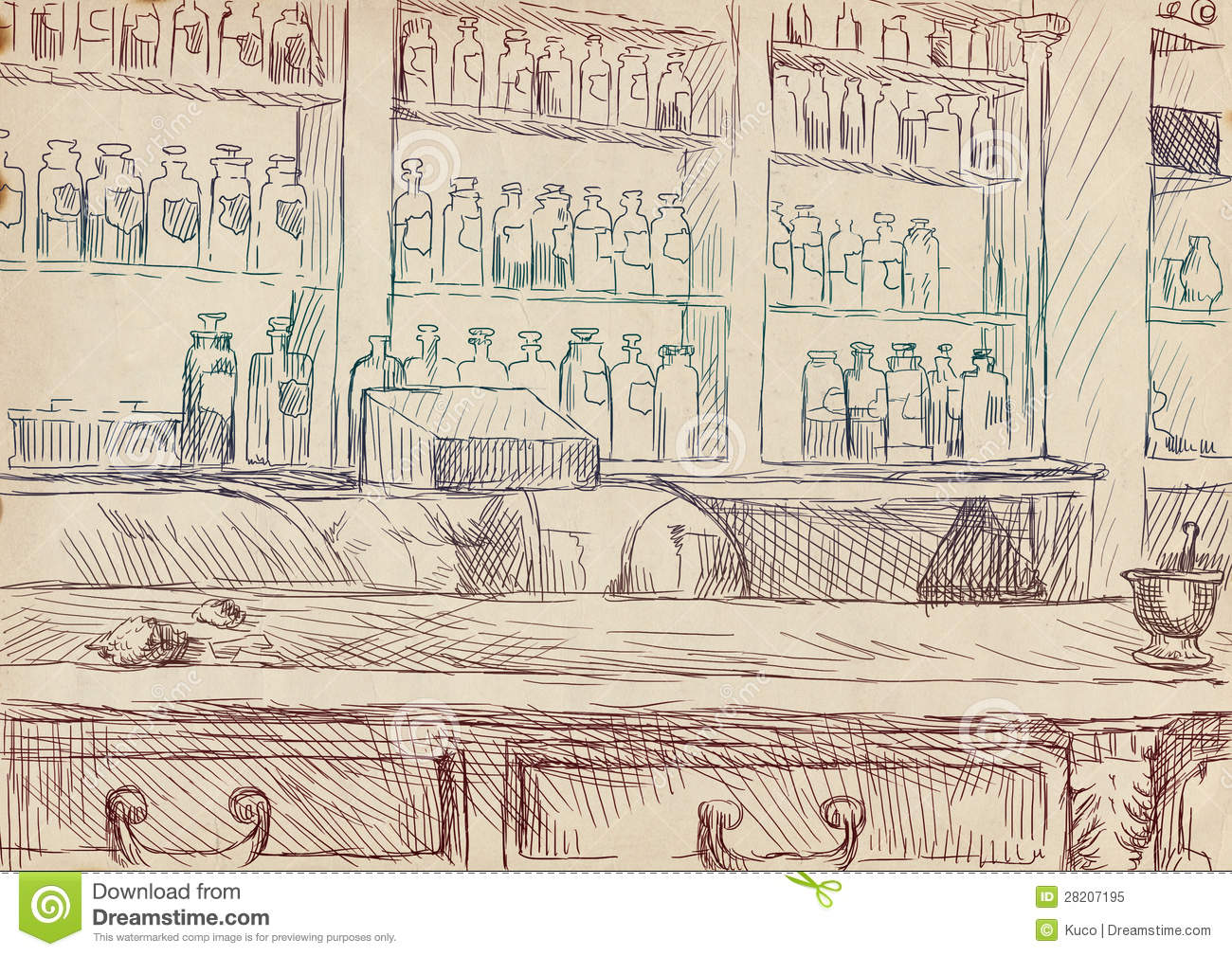 Old Pharmacy Stock Illustration Image Of Drawers